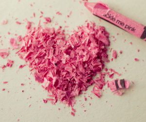 pink, heart, and crayon image