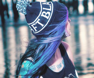 alt girl, blue hair, and grunge image