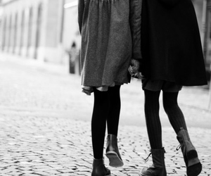 girls, together, and b w image