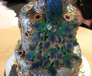 cake, colorful, and peacock image