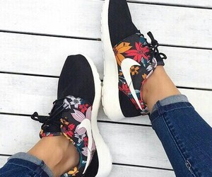 black, flores, and nike image