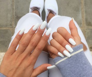 nails, long nails, and white image