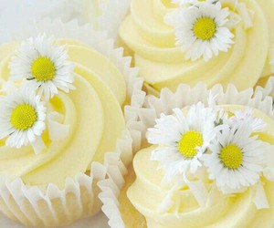 cupcake, daisy, and flowers image