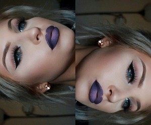 makeup, eyeliner, and lipstick image