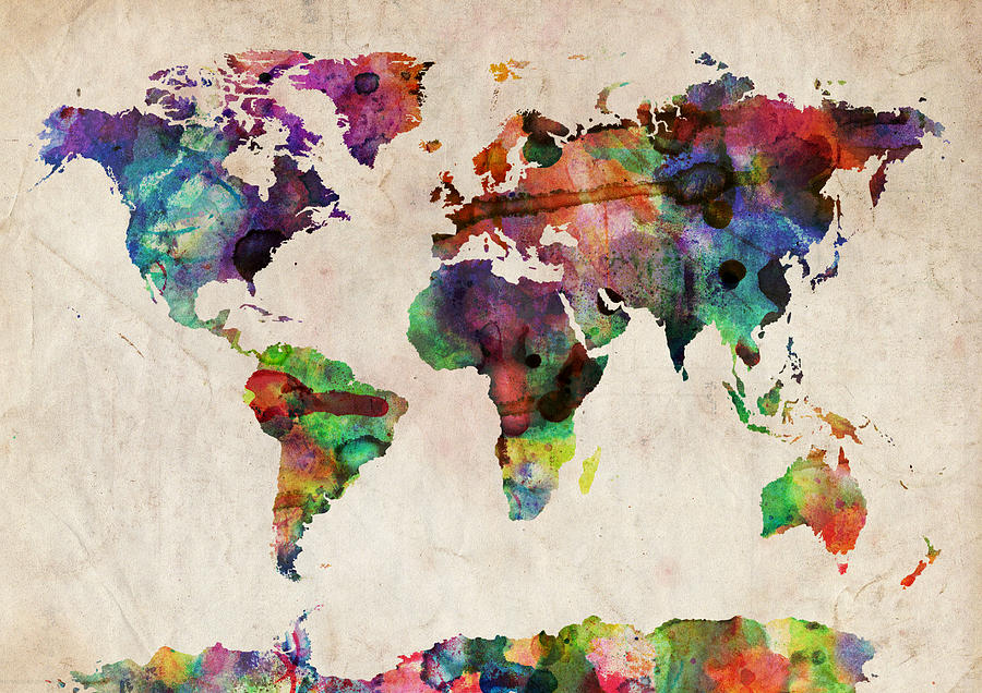 World map watercolor digital art by michael tompsett world map world map watercolor digital art by michael tompsett world map watercolor fine art prints and posters for sale gumiabroncs Image collections