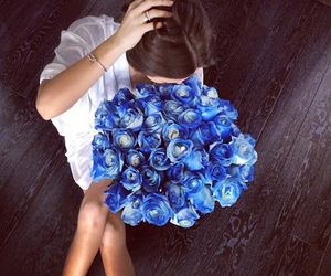flowers, girl, and rose image