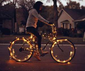 light, girl, and bike image