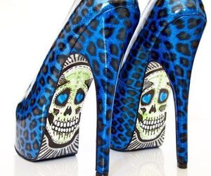 shoes, skull, and blue image