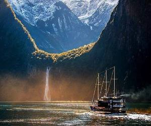 nature, new zealand, and waterfall image