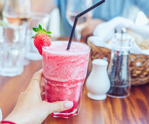 drink, strawberry, and food image
