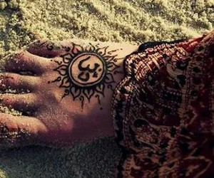 tattoo, feet, and sand image