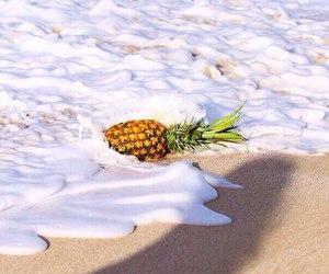 pineapple, beach, and sea image