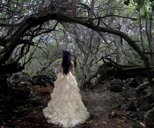 dress, girl, and forest image