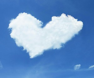 heart, clouds, and blue image