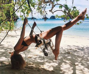 beach, fun, and swing image