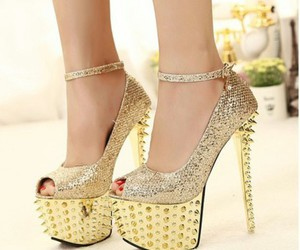 shoes, gold, and spikes image