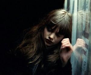 girl, dark, and hair image