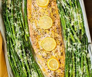 food, salmon, and asparagus image