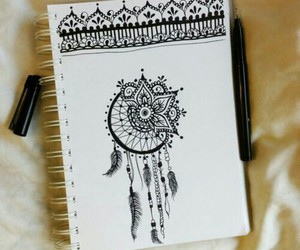 black, henna, and doodle image