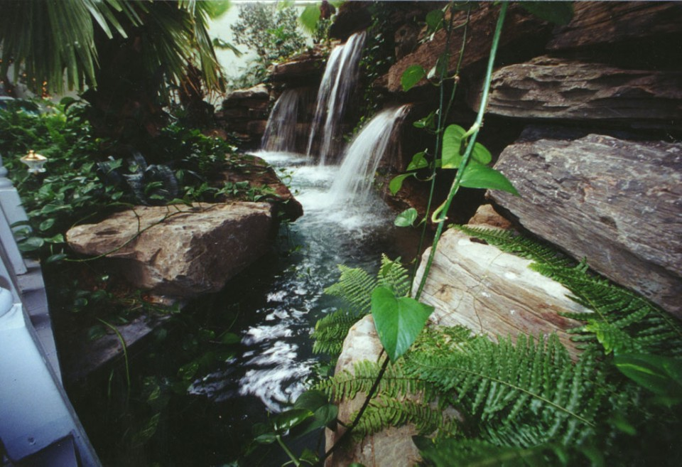 Wonderful Tropical Indoor Water Garden With Faux Stone And