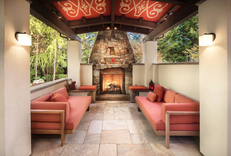 Mediterranean Patio Design Inspirations With Stone Fireplace And