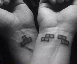 tattoo, tetris, and couple image