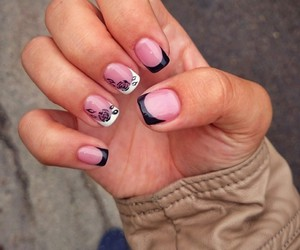 black, manicure, and nails image