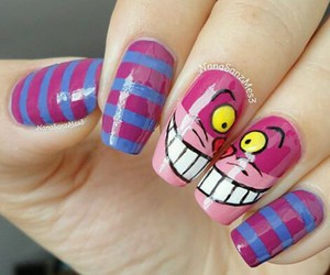nail art, alice in wonderland, and cat image