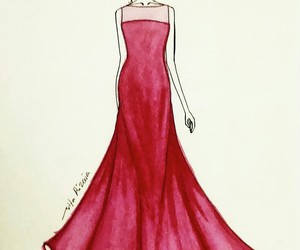 drawing, dress, and fashion illustration image