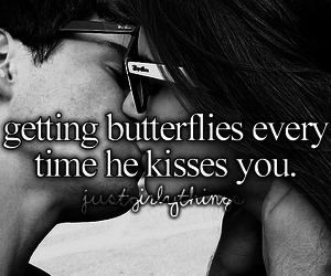 couple, love, and butterflies image