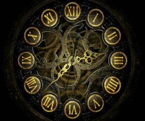 clock, time, and steampunk image