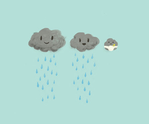 clouds, rain, and baby image