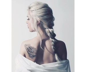 girl, tattoo, and braid image