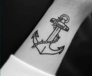 tattoo, anchor, and black and white image
