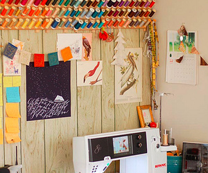 crafts, sewing machine, and thread image