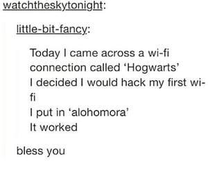 wifi, password, and potterhead image