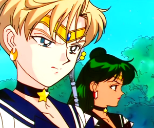 sailor moon, sailor uranus, and sailor pluto image
