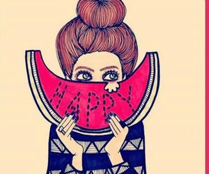 happy and watermelon image
