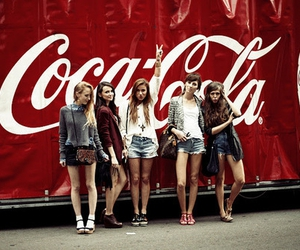 girl, friends, and coca cola image