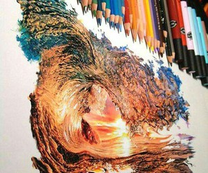drawing, art, and waves image