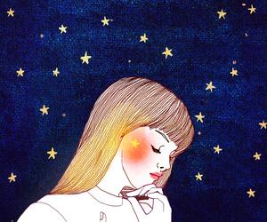stars, girl, and art image