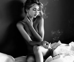 bedroom, girl, and cigarette image