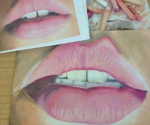lips, art, and drawing image