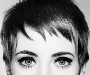 eyes, hair, and black and white image