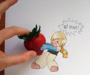 strawberry, drawing, and mine image
