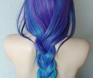 blue, blue+hair, and braid image