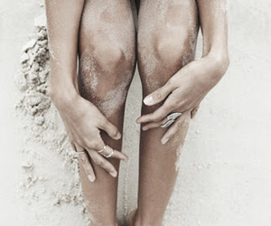 alone, legs, and sand image