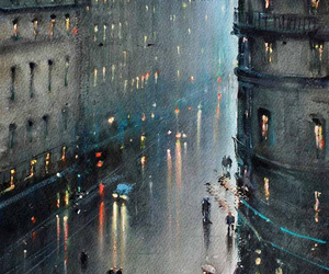 rain, art, and city image