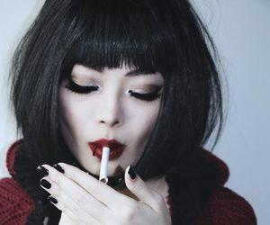 girl, smoking, and black image
