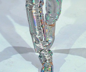 shoes, silver, and holographic image